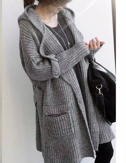 b8db28f232 Hot 2015 fashion Autumn Winter Cardigan brief thick Wool long Coat Sweater  belt casual loose Tops outerwear maxi sweaters female