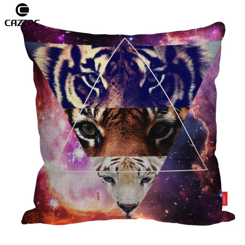 Space Future font b Science b font Fiction Triangles Tiger Cat Print Linen Car Sofa Chair