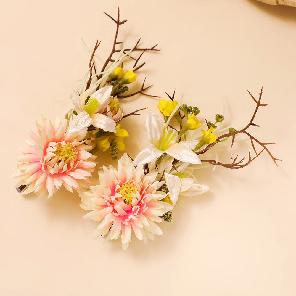 Romantic Flower Hair Clips Artificial Floral Headdress Barrettes Fashion Girls Pageant H ...