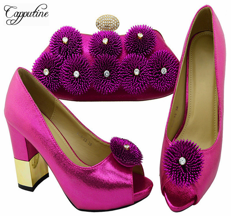 Capputine Latest Fuchsia Color African Shoes And Bags Set Italian Style Woman High Heels Shoes And Bag Set For Parties BCH-33A1 capputine hot selling african woman shoes and bags set italian style high heels shoes and bag sets for dress size 37 42 bl765c