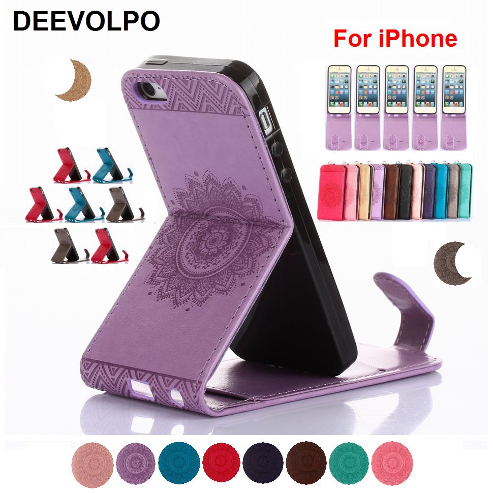DEEVOLPO Vertical Flip Leather Phone Case Stand Folio Cover For iPhone X 8 7 6 Plus 4 4S 5 5S SE 6S Mandala Embossing Capa DP04F