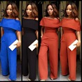 Ruffle Jumpsuits 2017 Summer Women Sleeveless Sexy Orange Blue Black Club Party Off the Shoulder Wide Leg Romers and Jumpsuits