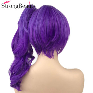 Image 5 - StrongBeauty Dark Ombre Purple Wavy Wigs with Clip Ponytail Synthetic Cosplay Wig Women Hair