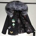Real Abrigos de Piel Para Mujer de piel de Zorro Rojo Abrigo de Forro abrigo de piel de Zorro Más Tamaño Parkas Para Las Mujeres de Piel de Invierno chaquetas