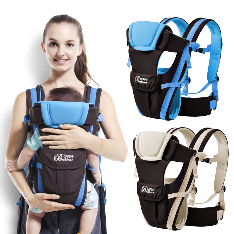 Beth Bear 0-30 months baby carrier, ergonomic kids sling backpack pouch wrap Front Facing multifunctional infant kangaroo bag