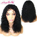 Angelbella Human Curly Lace Front Wigs Natural Human Hair Extensions Jerry Curly Wigs 12 Inches Human Lace Front Curls Wigs