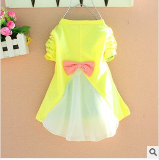 clearance new chiffon long sleeve kids dress moon star bowknot dress for baby girl children blouse overall dress girl
