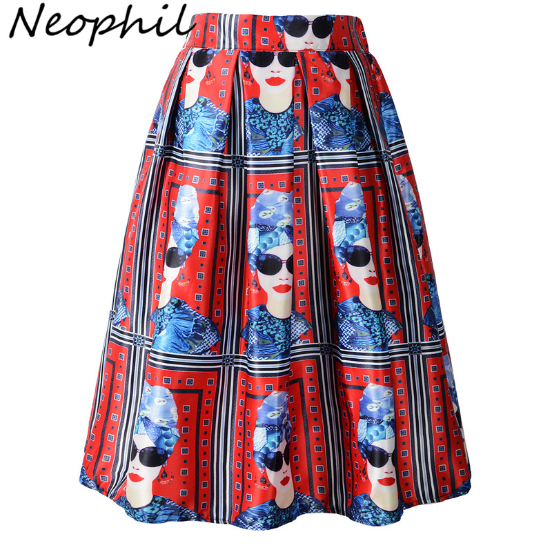 Neophil 2019 Winter European Fashion Style Girl Portrait Print Red Pleated High Waist Tutu Skater Midi Pleated Skirts Saia S0905