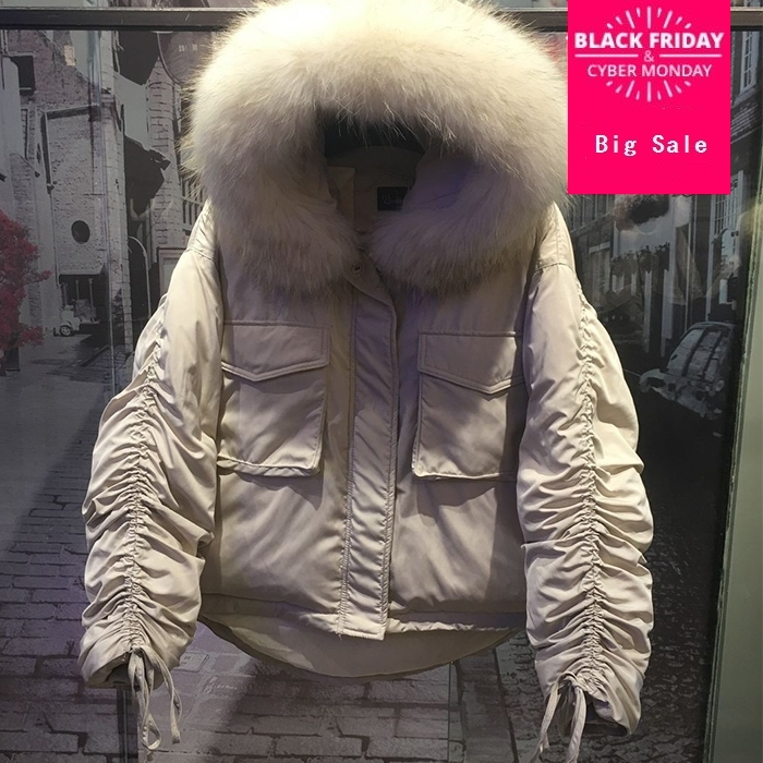 Winter fashion brand natural fur real duck down coat female hooded with real fur collar warm down jacket Drawstring strap wq276w