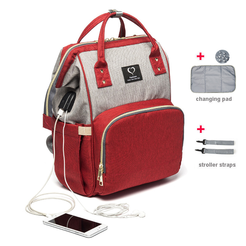 Diaper Bag Usb Earphone Joggle Nappy Bag Waterproof Maternity Travel Backpack Designer Nursing Bag Baby Care Stroller Handbag