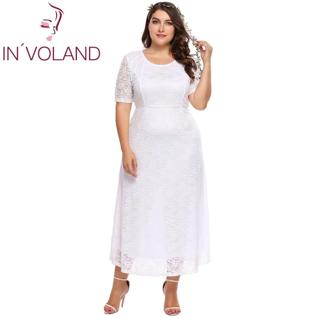 IN'VOLAND Femmes Dentelle Robe Plus La Taille L-4XL Vintage Creux Out Floral Maxi Soirée Longue Grand Robes Robes Grande Taille