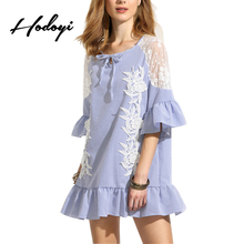 Hodoyi Blue Vertical Striped Sexy Mesh Mini Dress Crochet Butterfly Half Sleeve Lace Applique Patchwork Chic Ladies Dress Female