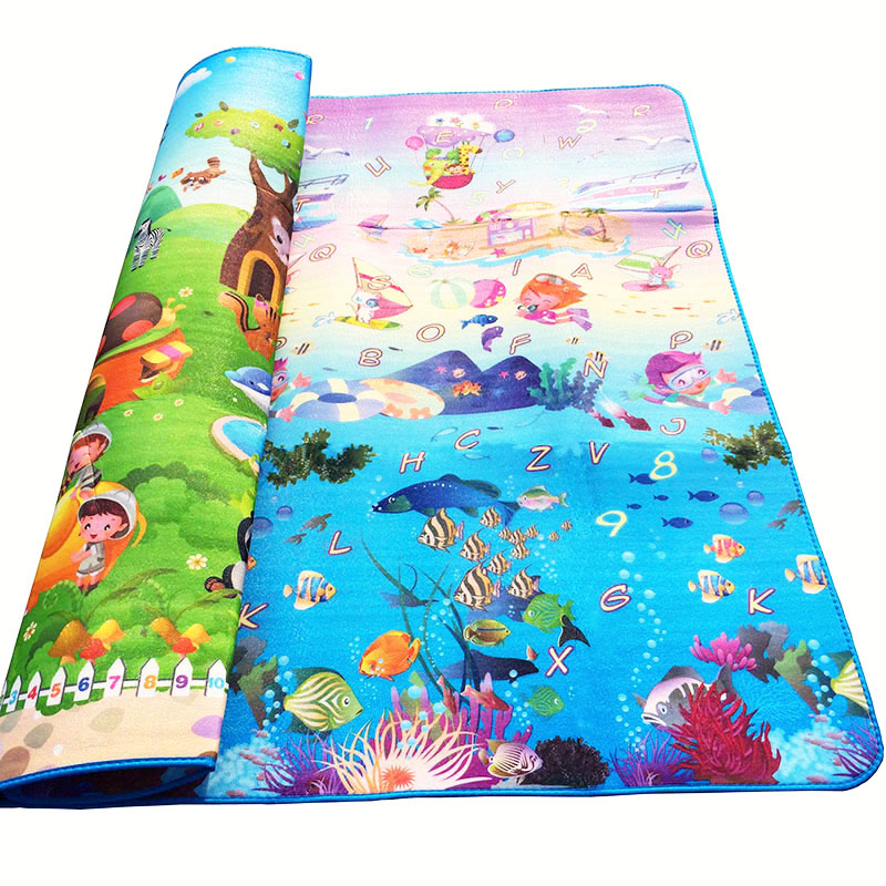 Image 2 - Baby Crawling Play Mat 2*1.8 Meter Climb Pad Double Side Fruit Letters And Happy Farm Baby Toys Playmat Kids Carpet Baby Game-in Play Mats from Toys & Hobbies