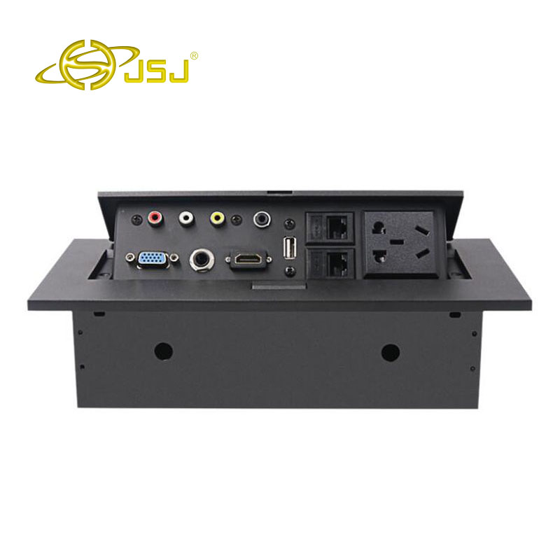 JSJ prise de bureau multi-fonction prise de bureau HDMI + AV audio et vidéo + 3.5 + VGA + USB boîtier de câblage caché