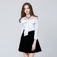 HIGH QUALITY New Fashion 2018 Designer Blouse Top Women's Slash Neck Off the Shoulder Lacing Bow Blouse Shirt white/blue