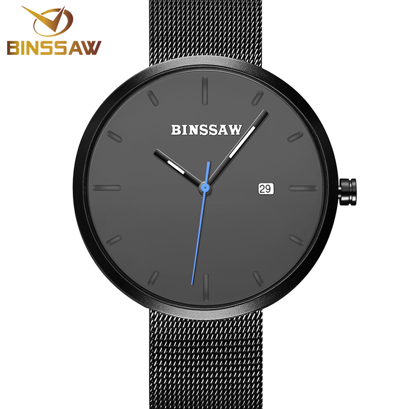 BINSSAW Watches Top Brand Luxury Male Waterproof Clock Stainless Steel Strap Casual Mens Quartz Wrist Watch relogio masculino skmei quartz man watch 2017 fashion mens watches top brand luxury stainless steel male wrist watch male clock relogio masculino
