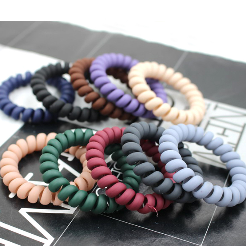 5Pcs Elastic Hair Bands   Headwear   Women Telephone Wire Hair Rings Rope Ponytail Holder Hair Accessories Braiding Rubber Bands