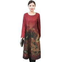 모직 여성 드레스 가을 겨울 새로운 대형 느슨한 인쇄 복고풍 전체 슬리브 따뜻한 botton 드레스 패션 우아한 vestido re2170