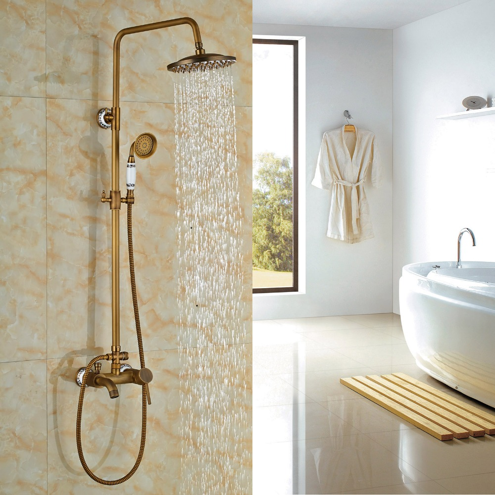 Wall Mounted Bathroom Shower Faucet Set 8 Shower Head With Handheld