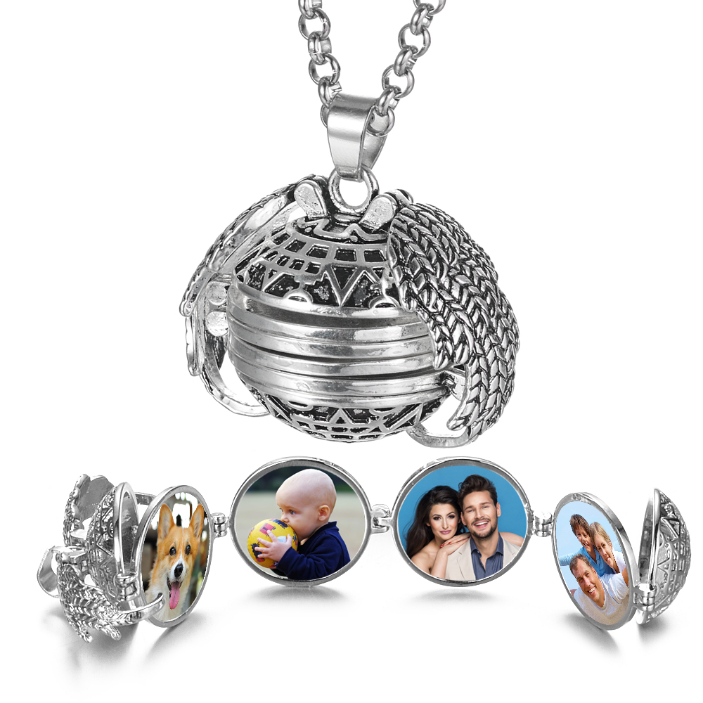 Magic 4 Photo Pendant Memory Floating Locket Necklace Angel Wings Flash Box Fashion Album Box Necklaces for Women VA-2017(China)