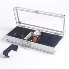 Útil Joyería de 6/12 Ranuras de Rejilla Relojes Display caja de Almacenamiento Caja De Aleación De Aluminio