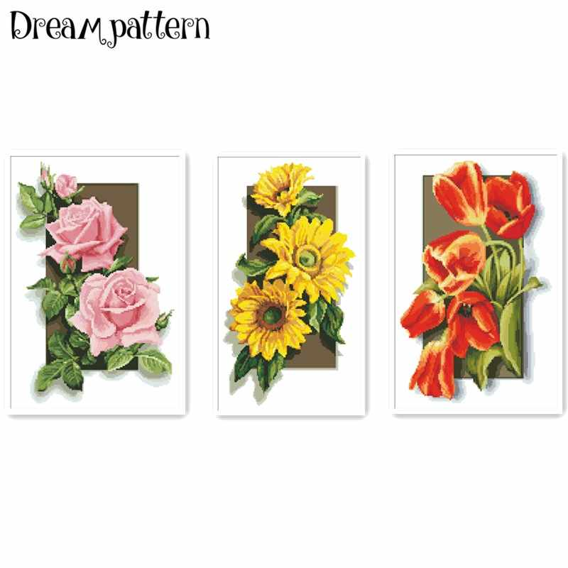 Rose sunflower tulip flower cross stitch kits package 18ct 14ct 11ct cloth silk cotton thread embroidery DIY handmade needlework