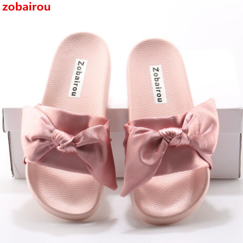 Zobairou Lotus Jolly Silk Bow Slides Women Summer Beach Shoes Woman Slippers Flat Heel Flip Flops Ladies Rihanna Bohemia Sandals casual bow slides women summer beach shoes woman leather slippers flat flip flops ladies sandals