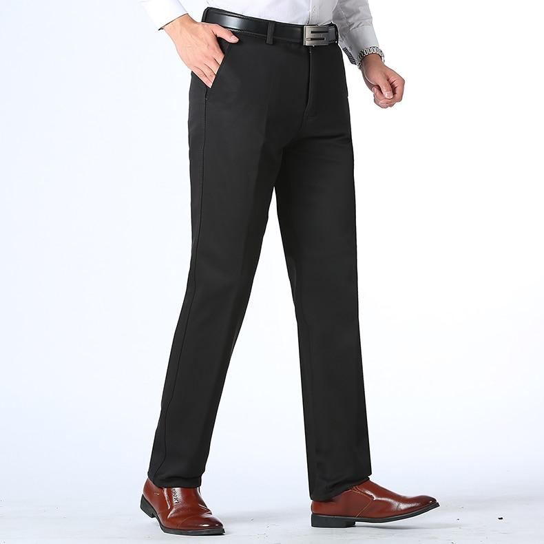 HTB1Nz74kpkoBKNjSZFkq6z4tFXaq Autumn Winter Men Warm Fleece Classic Black Cotton Pants Mens Business Loose Long Trousers Quality Casual Work Pants Overalls
