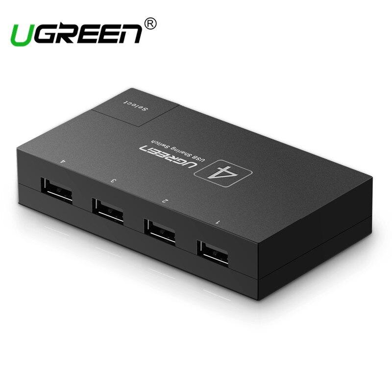 Ugreen USB 2.0 Switch 4 PCs/2 PCs Sharing 1 Device 4/2 Ports KVM Switch Adapter for Printer Scanner USB Share Box USB Switcher