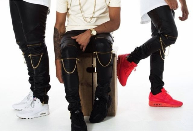 e9b4bfc7b241c Men PU Faux Leather Dance Sweatpants Slim Fit Hip Hop Hiphop Pants Zipper  Harem Jogger Kanye West With Chain Full Length