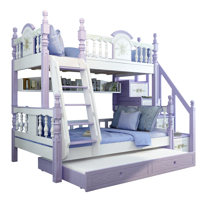 White Purple Solid Wood Bunk Bed