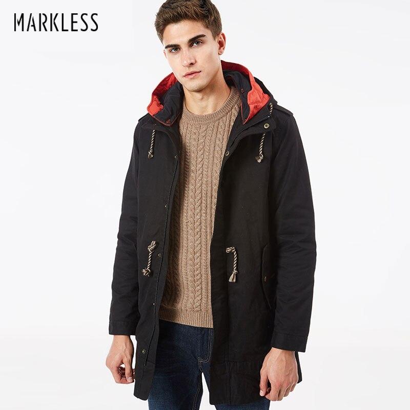 Markless Uomo Nuovo Lungo Cappotto Invernale Con Cappuccio Fodera Staccabile Cappotto Giacca A Vento da Uomo Inverno Parka di Cotone