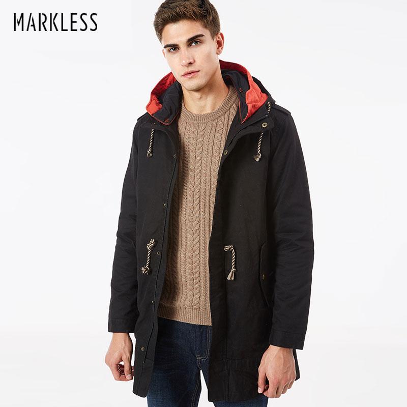 Markless Men New Long Hooded Winter Coat Detachable Liner Coat Mens Windbreaker Jacket Winter Cotton Parkas