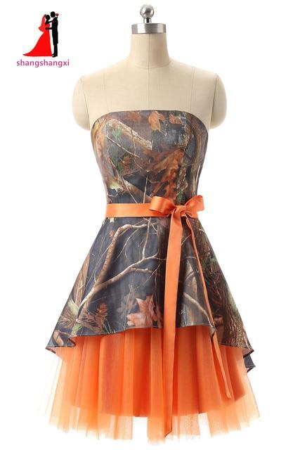 Orange Camouflage Bridesmaid Dresses Plus Size Wedding ...