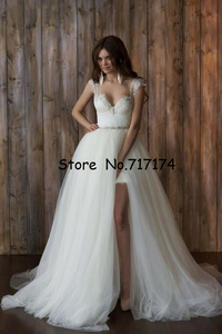 Image 2 - Two Pieces Sweetheart A line Wedding Dresses with Detachable Train Open Back Cap Sleeves Lace Beaded Bridal Gowns Robe De Mariee