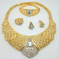 New Arrival 2016 African Costume Jewelry Sets Gold Plated Crystal Wedding Women Bridal Accessories nigerian Necklace Set