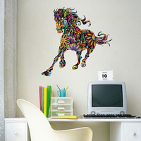 CaCar New Design Project Abstract Decorative Wall Decal Of Colorful Flower Pattern Horse Wall Stickers Children
