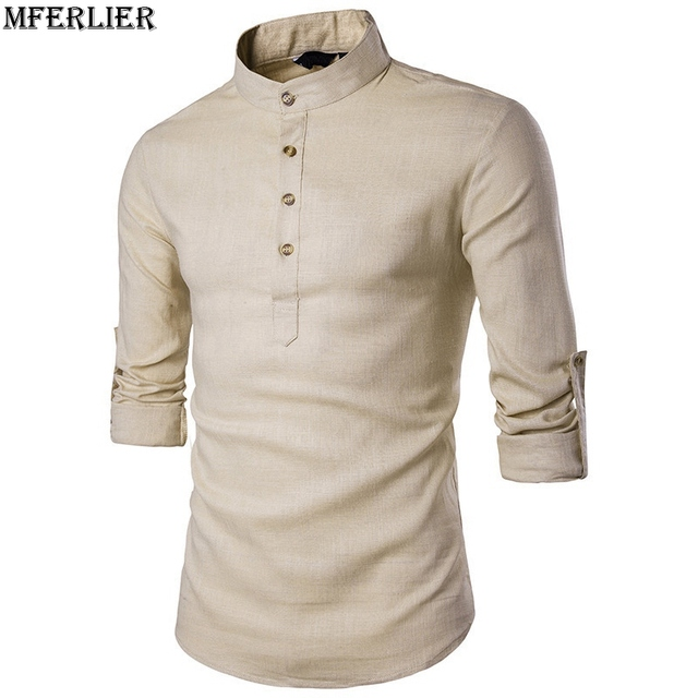 a33042d040c MFERLIER autumn summer Men`s Linen Cotton Shirts Mandarin Collar Breathable Traditional  Chinese Style simple shirt dark blue red