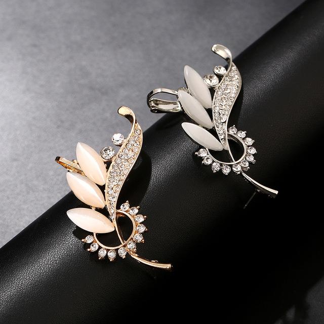 Opal Leaf Ear Cuff Crawler Earrings For Women
