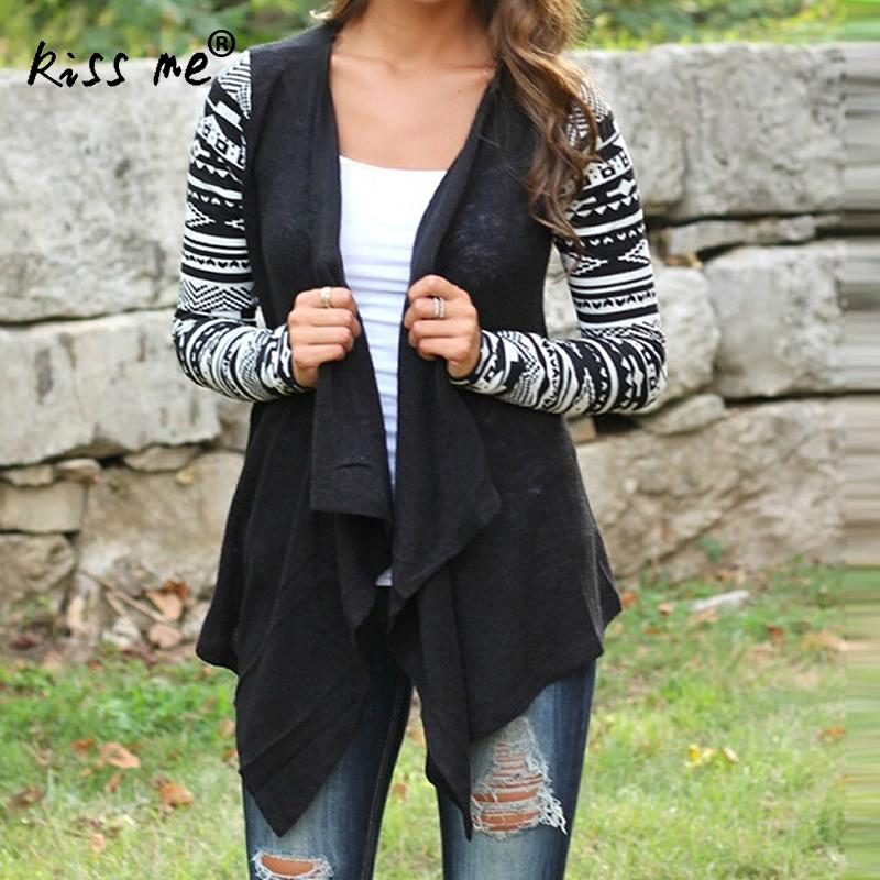 Plus Size 3XL 4XL 5XL Women Cardigan Cotton Long Sleeve Ladies Tops Asymmetrical Design Geometric Print Casual Loose Cardigan