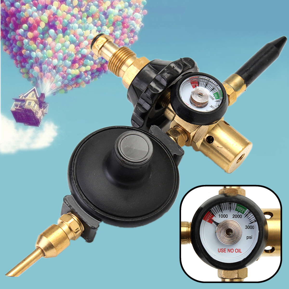 Helium Latex Balloon Inflator Air Flow Regulator Meter Valve Gauge For G5/8 g5 8 14h f oxygen regulator welding accessories
