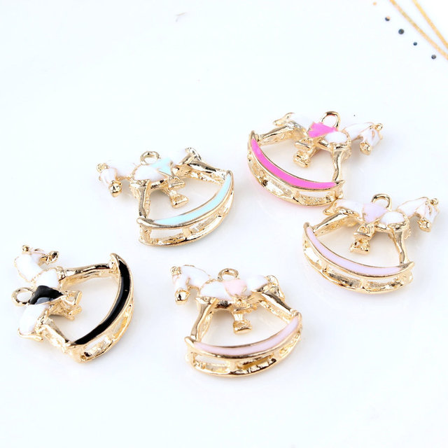 10PCS/Lot Oil Drop Charms Beautiful Horse Gold Color Metal Enamel Folating Pendant Carousel Charms For DIY Bracelet Necklace