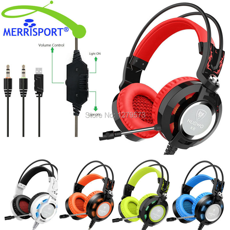 ФОТО MERRISPORT Gaming Headseta 3.5mm Game Stereo Headphones Headsets Headband with Mic LED Stereo Bass for PS4 PC Computers Laptops