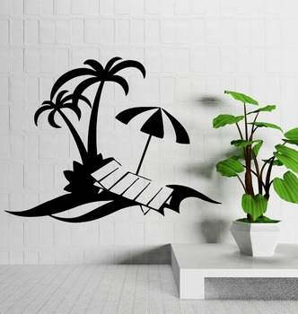 Beach Wall Decals | Wall Decal Palm Beach Vacations Relax Tropical Decor Vinyl Stickers