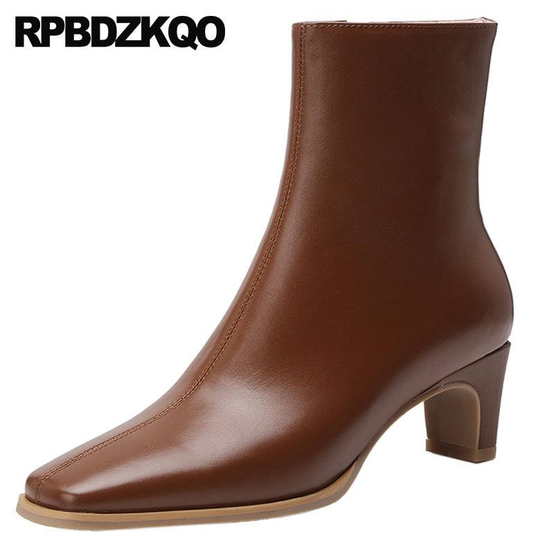 Caviglia Nero Grosso Il Tacco Laterale Donne brown Zip Marrone Di Autunno  Alta Quadrata Lusso Pelliccia Cuoio Del Della Inverno ... f0739e98a06