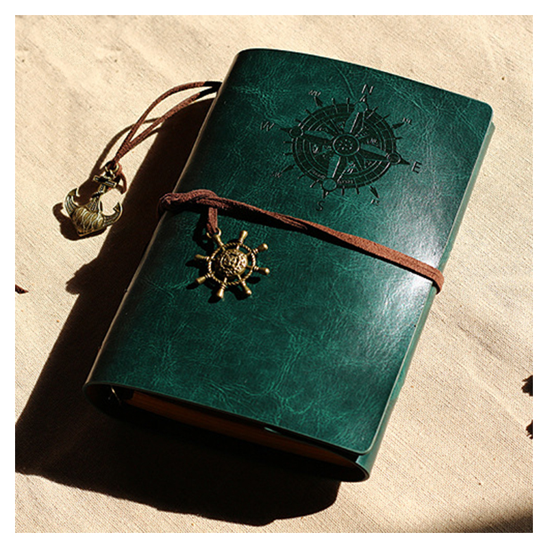 Retro Personality Notebooks Travel Journal Notepads Pirate Cover Ring Binder Diary Notebook Green SRetro Personality Notebooks Travel Journal Notepads Pirate Cover Ring Binder Diary Notebook Green S
