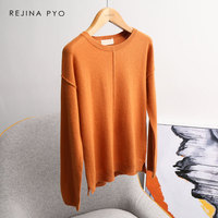 REJINAPYO Merino Wool Blends Loose Solid Knitted Sweater O neck Female Casual Drop shoulder All match Wool Sweater Pullovers