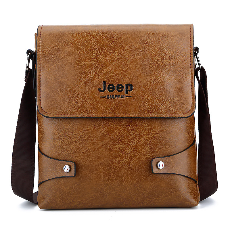2018 New Fashion Jeep Bag in Mens Crossbody Bags PU Leather Messenger Bags All-match Small Package Business Bags For Men