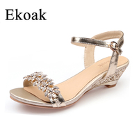 Ekoak New Summer Fashion Women Sandals Sexy Crystal Bling Medium Heels Shoes Woman Wedges Sandals Party Dress Shoes