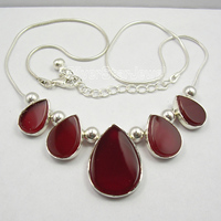 Chanti International . Silver RED FIRE CARNELIAN ART Necklace 18.5 Inches WOMEN'S JEWELRY